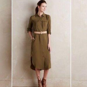 Anthropologie Maeve Shirt Dress 6 Olive Green
